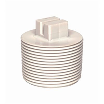 "White ABS/PVC Pipe Fittings 1.5"" Threaded Plugs"